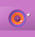colorful paper cutout vinyl music record player vector image vector image