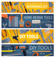 construction and repair tools banners vector image vector image