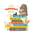 cute cartoon animals reading books vector image vector image