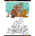 dogs group coloring page vector image vector image