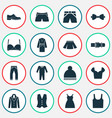 dress icons set with male footwear bow tie suit vector image vector image
