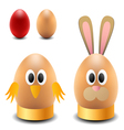 Egg rabbit and chicken for Easter vector image