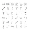 farming equipment garden icons set outline style vector image vector image