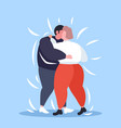 fat obese couple dancing together overweight man vector image