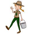 Female park ranger holding bucket vector image vector image