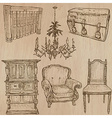 Furniture - sketches line art vector image vector image