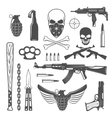 Gangster Monochrome Elements Set vector image vector image