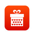 gift box with ribbon bow icon digital red vector image vector image