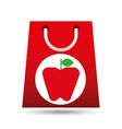 grocery shopping bag apple fruit design vector image vector image