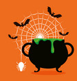 halloween card with cauldron and bats flying vector image vector image