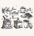 hand drawn coffee set coffee sketch vector image vector image