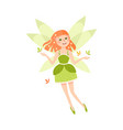 happy cute readhead girl fairy with wings lovely vector image
