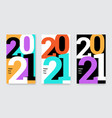 happy new year 2021 posters set vector image vector image