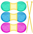 knitting needles and skeins vector image