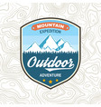 mountain expedition patch concept for vector image vector image