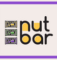 nut bar logotype with three nut snacks vector image
