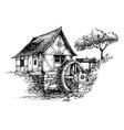 Old water mill sketch vector image vector image