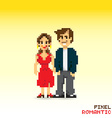 Pixel romantic couple vector image vector image