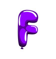 purple letter f in form of glossy air balloon vector image vector image