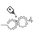 Repair of equipment Gears cardiogram oilcan vector image