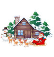 scene with santa and reindeer on sleigh vector image