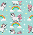 seamless pattern unicorns and rainbows vector image vector image
