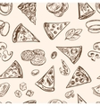 Seamless pattern with sliced italian pizza cheese vector image vector image