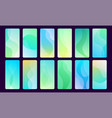 set 16 abstract blue and green wave mobile vector image vector image