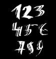 set of calligraphic ink numbers textured brush vector image vector image