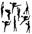set silhouette girl gymnast with the ball on white vector image