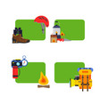 set stickers camping elements vector image vector image