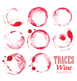 Set traces red wine marks vector image vector image