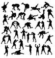 Silhouette Sports Boxing and Wrestling vector image vector image