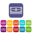 stack of dollars icons set vector image vector image