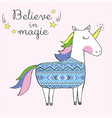 sweet cute unicorn with ethnic pattern vector image