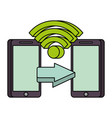 two mobile payment connection money transfer vector image vector image