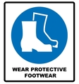 Wear safety footwear Protective safety boots must vector image vector image