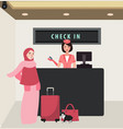 girl woman check in airline flight front desk vector image