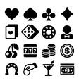 Gambling Casino Icons Set on White Background vector image