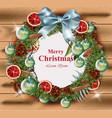 merry christmas wreath on wood background vector image