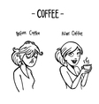 before after coffee female doodle vector image vector image