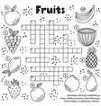 black and white crossword puzzle game with fruits vector image vector image