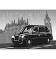Black taxi cab moving on Westminster Bridge vector image vector image