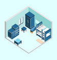 blue kid bedroom isometric home interior design vector image