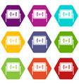 board icon set color hexahedron vector image vector image