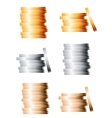 Bronze silver and gold stacks of coins vector image