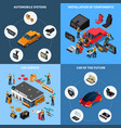 car electronics concept icons set vector image vector image