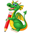 Cartoon cute dragon holding red pencil vector image