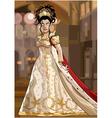 cartoon fairy queen in a luxurious dress vector image