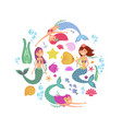 Cartoon swimming mermaids and sea underwater